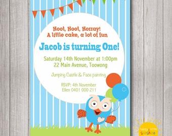 Custom Printable Boy Birthday Photo Invitation Any Age 1st Birthday Giggle and Hoot