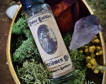 Cerridwen Oil ~ 1/3oz glass roll on ~ Goddess, Magick, Pagan, Red Agate, Vervain, Vanilla, Bergamot, Apple, Jasmine, Moon