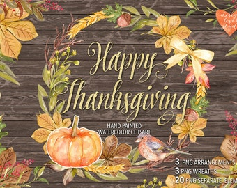 Watercolor Happy Thanksgiving clip arts Autumn Leaves