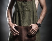 Canvas cross back apron with leather pockets and soviet army belts by Kruk Garage Work apron Barber's apron Mens gift Valentine's Day gift
