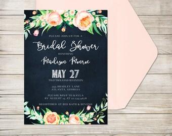 Bridal Shower Invitation, Printed Invitation with Envelope, Blush Pink Floral Shower, Distressed Navy Blue Chalkboard, Modern Bridal Shower