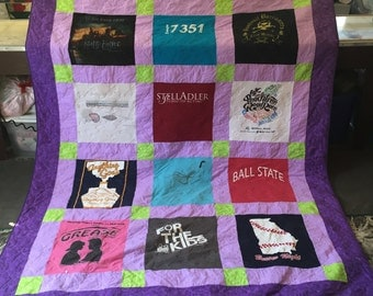 Twin Size, Custom T-Shirt Quilt, Custom Memory Quilt, Made From shirts, Graduation Gift, Wedding Gift, Birthday Gift, Custom Memorial Quilt