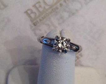 Beautiful antique Deco 14k white gold 3 Diamond Boxhead Engagement Ring, .17 tw K-VS2, size 5