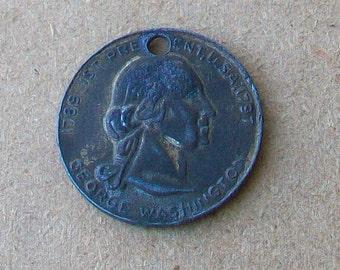 Vintage George Washington Funeral Coin Token Pendant