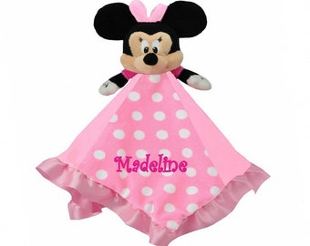 Personalized Minnie Mouse Snuggle Blankie and  Lovie - 13 x 13 Inch