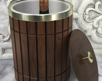 Vintage Walnut Ice Bucket / Wood Ice Bucket / Vintage Barware