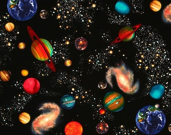 Solar System Black Space Fabric – Timeless Treasures C8219 /  Planets Fabric / Fat Quarter, 1/2 Yard and 1 Yard Cuts  / Cotton Fabric