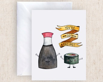 You're SOY Amazing Watercolor Greeting Card