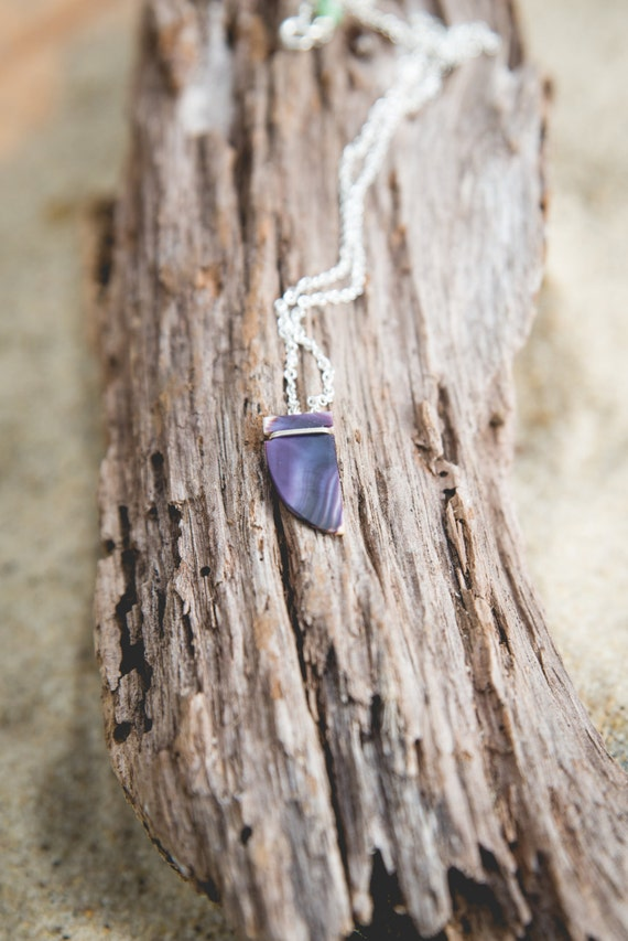 """wampum fang necklace on sterling silver chain 16"""" handmade on martha's vineyard"""
