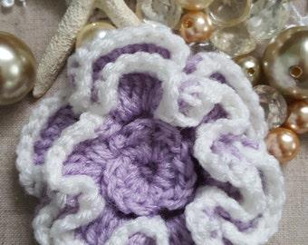Crochet Flower To Decorate, Crochet Flower For Embellishment , Purple Crochet Flower,