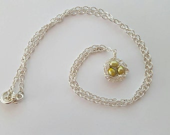 Green Freshwater Pearl Bird Nest Necklace