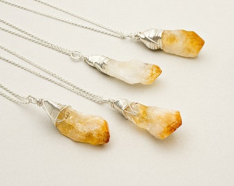 Raw Citrine Silver Necklace Gemstone Crystal Point Necklace Yellow Rough Citrine Pendant Boho Layer Festival Necklace November Birthstone