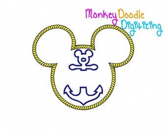 Cruise Mickey with anchor -  Embroidery Machine Applique - Instant Download - Monkey Doodle Digitizing