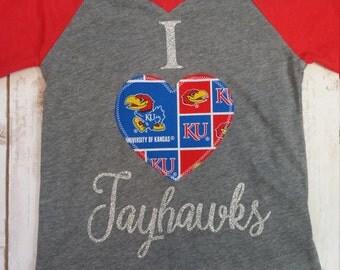 Jayhawks Shirt, KU Shirt,  Girls Shirt, Team Shirt