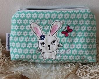 Bunny, rabbit makeup bag, cosmetic pouch, toiletry bag, zipper pouch