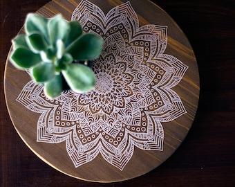 White Mandala Printed on Cedar Board