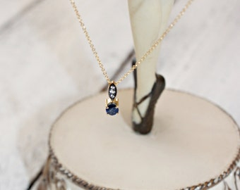 Blue Sapphire Necklace-18k Gold Necklace With Diamonds-Anniversary Gift