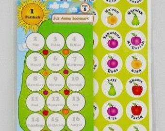 Juz Amma bookmark Islamic stickers,quran teachers stickers