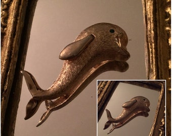 Vintage Gold Tone Dolphin Brooch