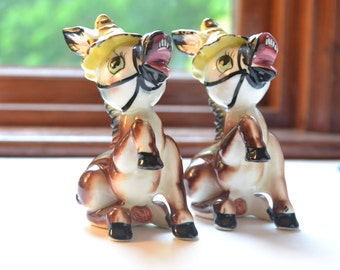 vintage donkey salt and pepper shakers | anthropomorphic salt and pepper shakers