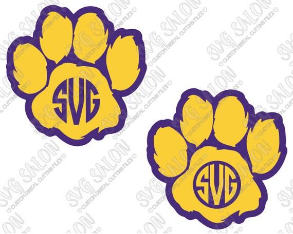 Paw Prints Monogram Svg: Furry Team Paw Circle Monogram Cutting File Set In Svg By