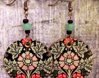Floral Print Up-cycled Cardboard Box Earrings