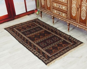 190x105 cm Antique nomads belotsch sumakh Kilim rug from Afghanistan No-12