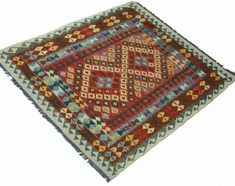 200 x 158 cm  oriental Handmade nomadic chobi kilim from Afghanistan No:66