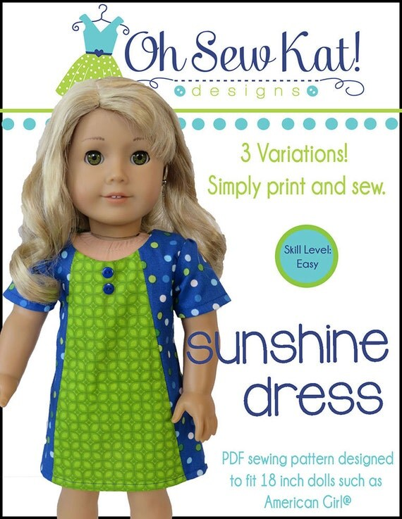 ... ® Doll Clothes - Sunshine Dress ePattern - easy to sew doll clothes