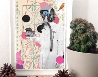 "Old camera print art, print of sewing pattern, surreal art print, wall art print, original collage, mixed media collage art- ""Post Scriptum"""