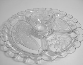 SALE - Indiana Glass Divided Five Part Relish - Vegetable Tray