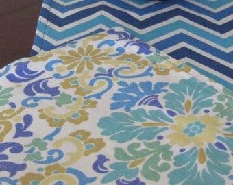 """Blue Chevron & Floral Table Runner - Reversible Table Runner - Aqua Floral Table Runner - 33"""" Table Runner  - Blue Table Runner"""