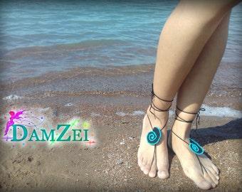 crochet seashell, Barefoot Sandal, Black & Turquoise Barefoot Sandal, Lace Barefoot Sandal, Barefoot Anklet, Foot Jewelry