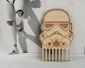 Beard Comb Star Wars Stormtrooper Wooden mustache comb Men gift for beard lovers for him Beard care men accessories grooming gift under 10