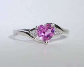 VALENTINES DAY SALE Pink Tourmaline - October Birthstone & Cz Heart Ring 10K White Gold Size 7