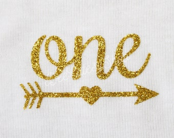 One Iron On, Arrow, Gold, Iron On, DIY, Iron-On Heat Transfer, Glitter, First Birthday, Baby Girl, Cake Smash, Gold