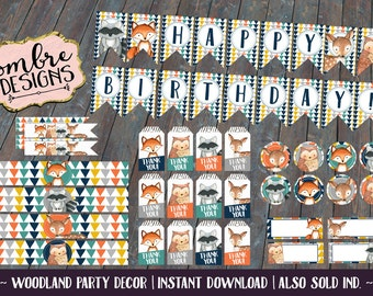 Woodland Animals Party Decor, Forest Friends, Wild One, Birthday Party, Woodland, First Birthday, Printable Party Decorations