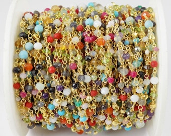 3 Feet Multi Mix Gemstone Faceted Rosary Beaded Chain 24k Gold Plated 3mm Beads