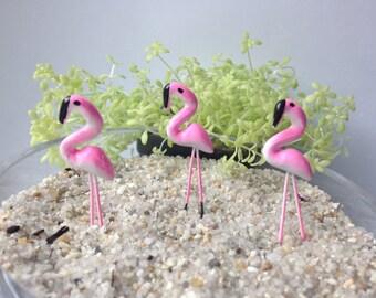 3 pcs Mini Pink Flamingo Figurines on Stem, Terrarium, Fairy Garden, Art Project, Clay Figurines