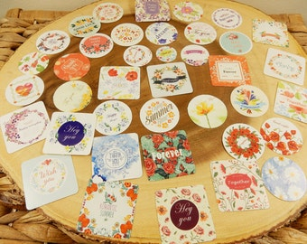 Vintage Floral Stickers, Flower Sealers, Wedding Favour Sticker Seals, Diary Decorations