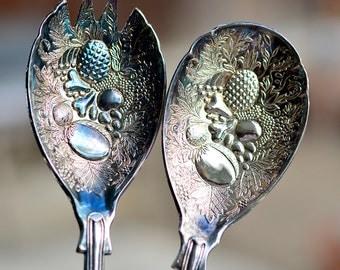 Pair Salad Servers, Metal Fork Spoon, Deeply Embossed Vintage
