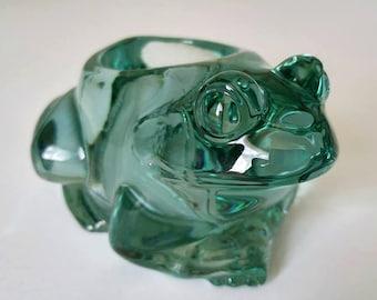 Vintage, Pressed Glass ,Green Frog, Candle Holder,Glass Frog