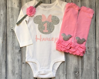 Personalized pink and silver minnie mouse first birthday bodysuit, minnie mouse first birthday shirt, pink and silver minnie birthday shirt