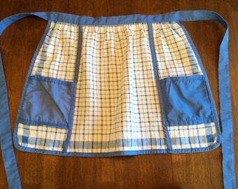 SALE - Vintage Kitchen Apron - 1970's - Ritzenthaler - Blue and White Gingham
