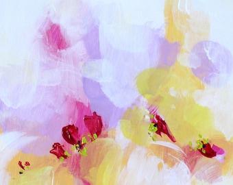 Pastel painting Acrylic painting Modern Art Abstract painting Pink Painting White painting Original art Abstract wall art landscape painting