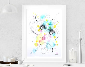 Turquoise painting Abstract painting on paper Abstract art Watercolor painting Modern art Original painting Abstract wall art Wall hanging