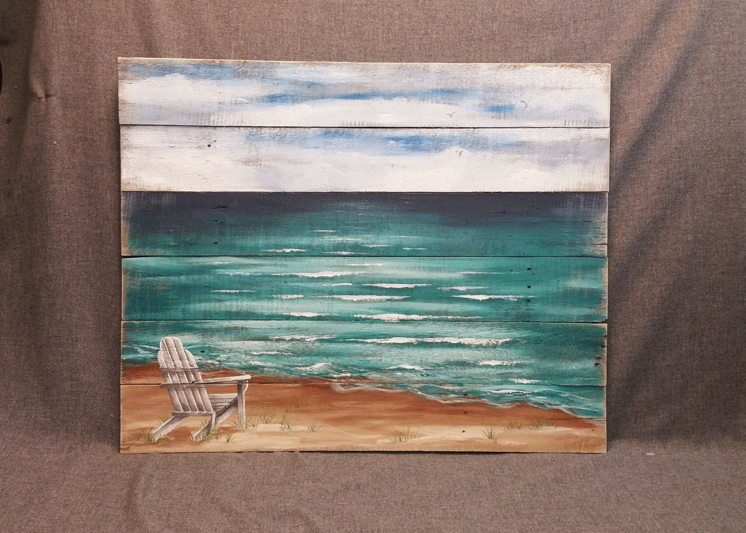 Wood pallet beach wall art beach hand painted seascape for Mural on wood