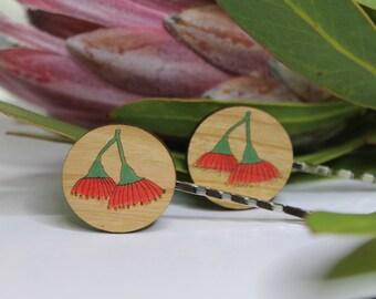 Red Flower Bobby Pins-Australian Flower Hair Pins-Flower Bobby Pins-Floral Bobby Pins-Australian Wildflower Hair Pins-Eucalyptus Flowers
