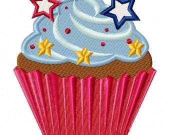 Patriotic Cupcake Machine Embroidery Design