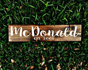 Personalized Sign | Family Name Wood Sign | Custom Name Sign | Last name sign | Family Established Signs | Established Signs | wedding gifts